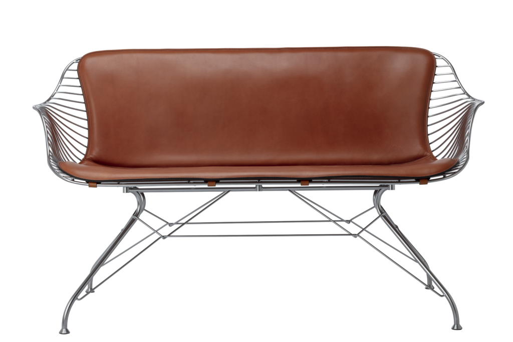 Wire Lounge Sofa in Satin steel and Yellowstone whiskey leather