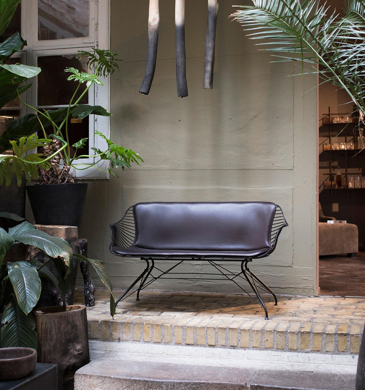 Wire-Lounge-Sofa-Black-ElDarkBrown-Leather