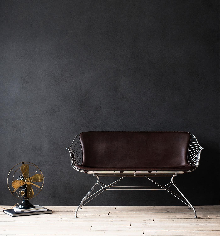 Wire-Lounge-Sofa-Chrome-YeDarkBrown-Leather