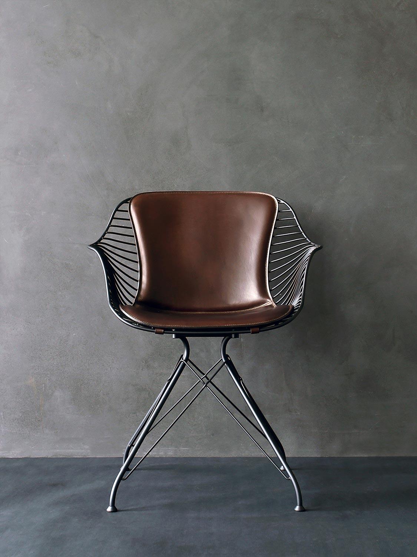 Wire-Dining-Chair-YeDarkBrownLeather