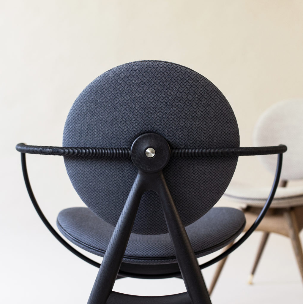 Circle Dining Chair with armrest - Jaali fabric