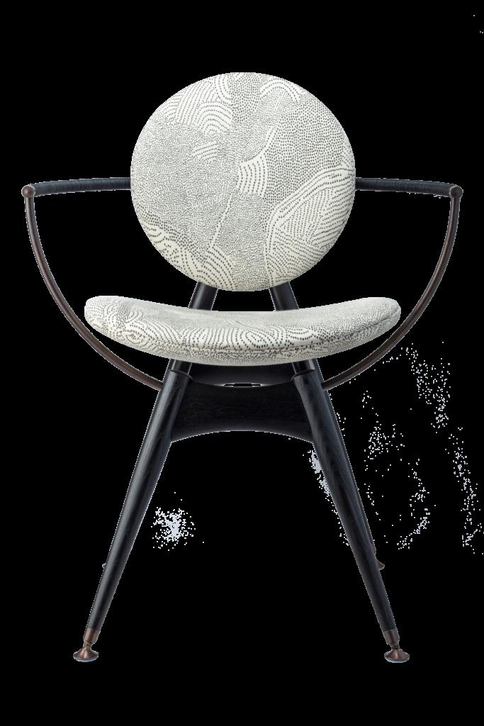 Circle Dining Chair with armrest / Maralinga fabric