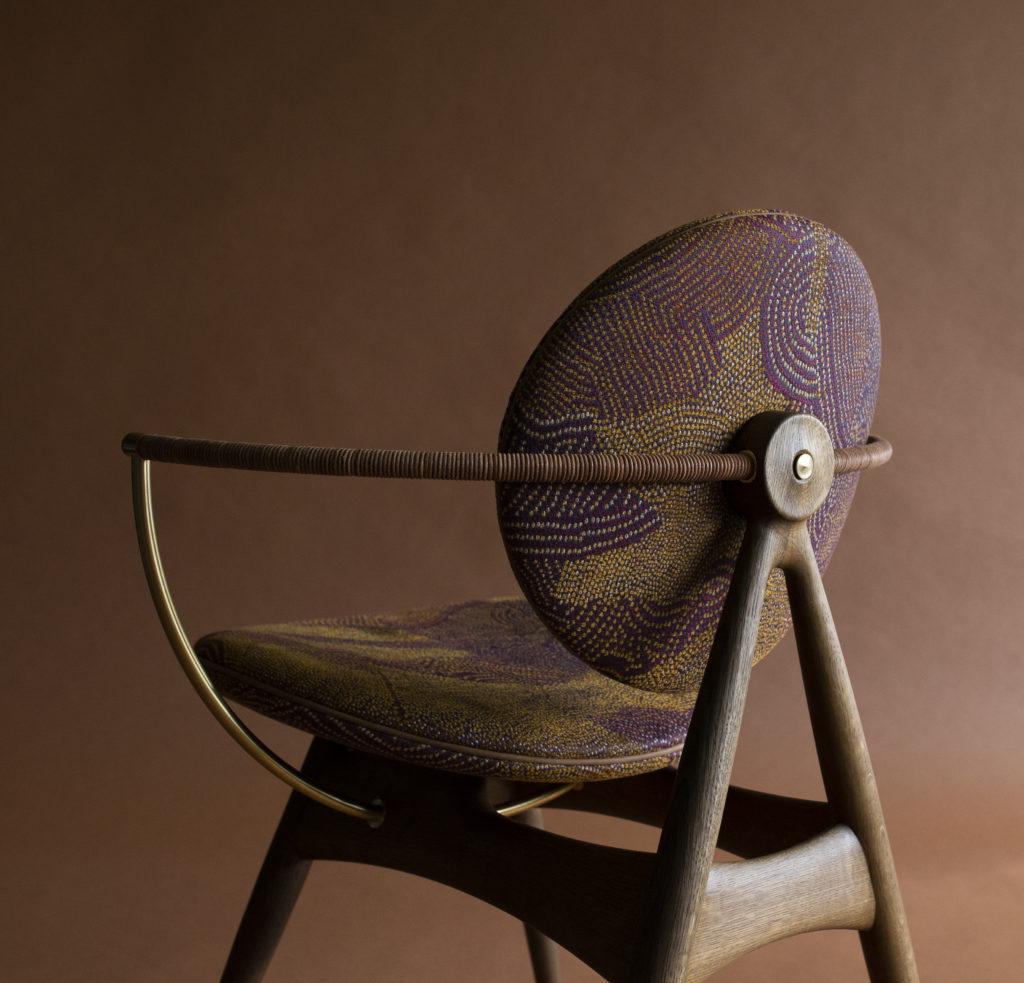 Circle Dining Chair with armrest - Maralinga fabric