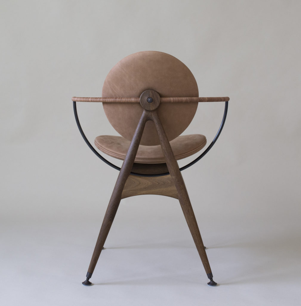 Circle Dining Chair with armrest - In Matstone Sand leather