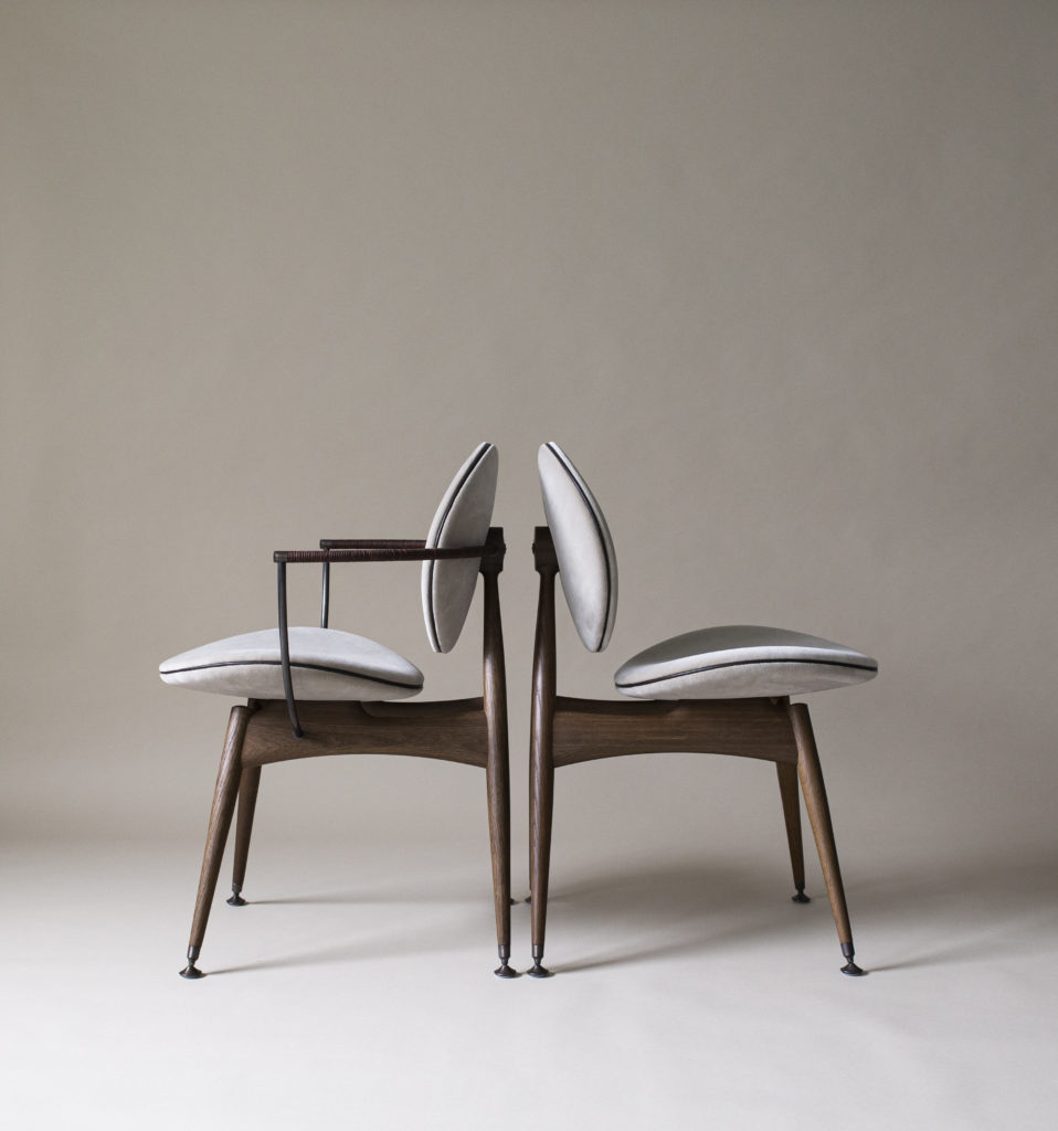Circle Dining Chairs-in smoked oak, Vienna-Velvet and aged brass