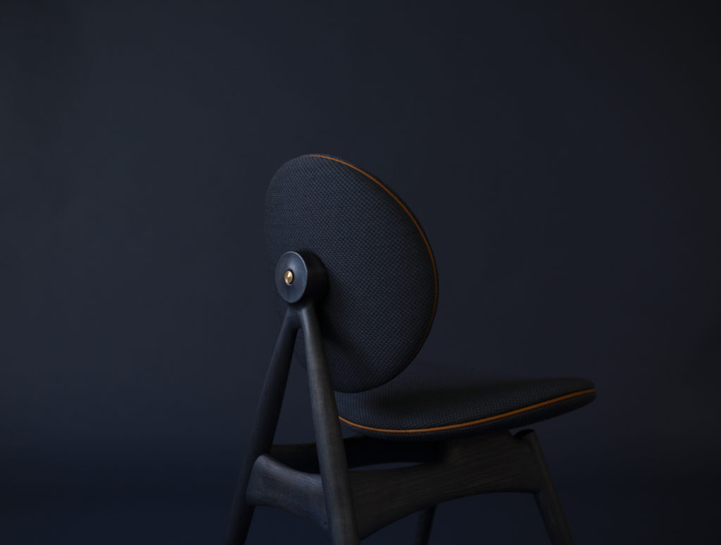 Circle Dining Chair without armrest - In Midnight Blue ash
