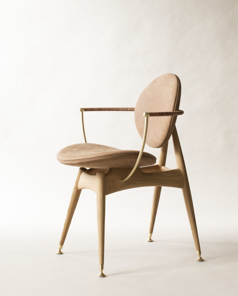 Circle Dining Chair Matstone Sand Leather