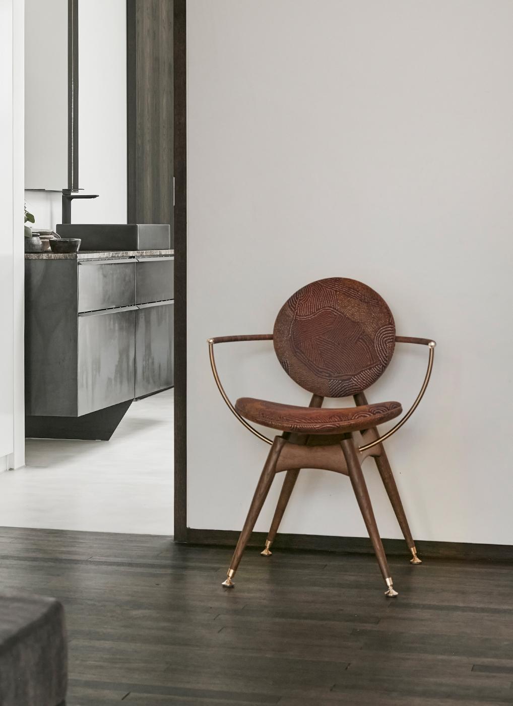 Circle Dining Chair in Maralinga fabric